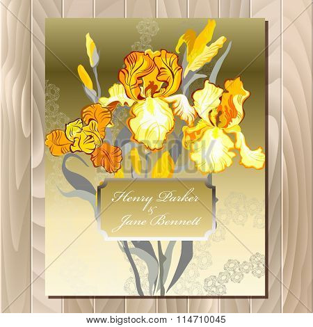 Wedding card with yellow iris flower bouquet background.