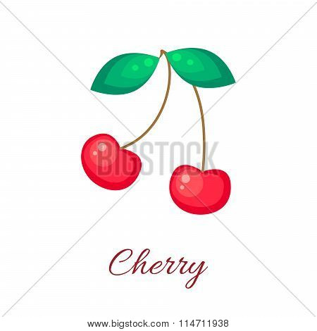 Red cherry vector icon.