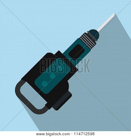 Electric jackhammer flat icon