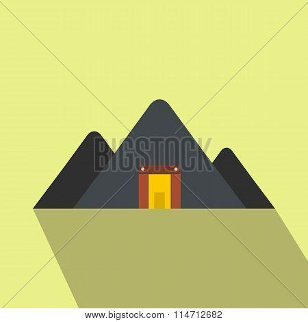Mountain mine flat icon