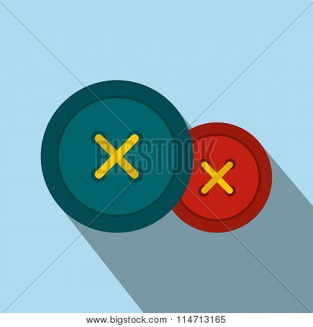 Sewing buttons flat icon