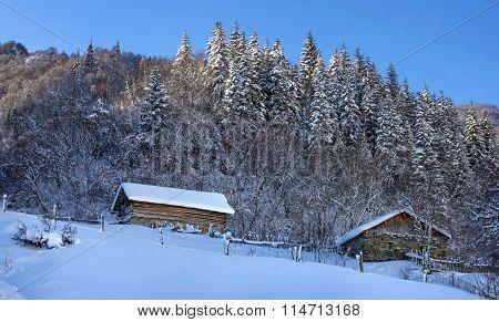 Georgian Huts In The Mountains