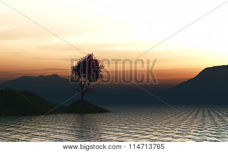 3D render of a Japanese Maple tree on a grassy island in the ocean against a sunset sky
