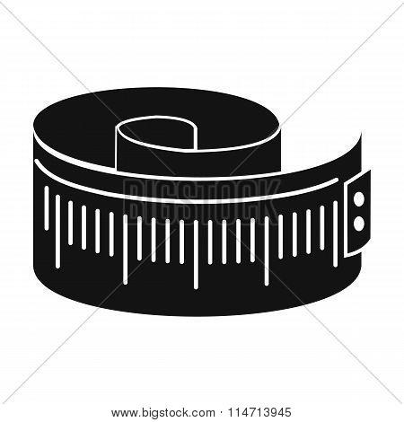 Measuring tape black simple icon