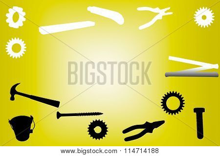 Silhouette of work tools on yellow background