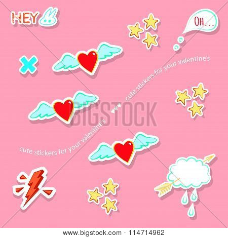 Valentine's Day Love Theme Cute Badges, Stickers, Stamps
