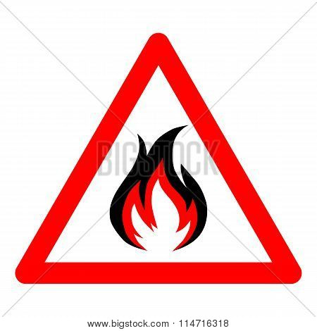 fire vector icon on white background.