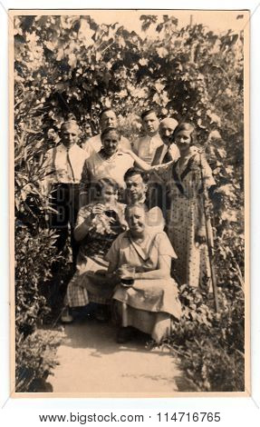 Vintage photo shows women and men in the back yard with grapes