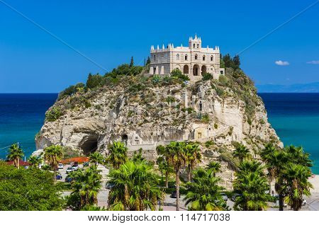 Church of Santa Maria located on the cliff near the town of Tropea, Italy