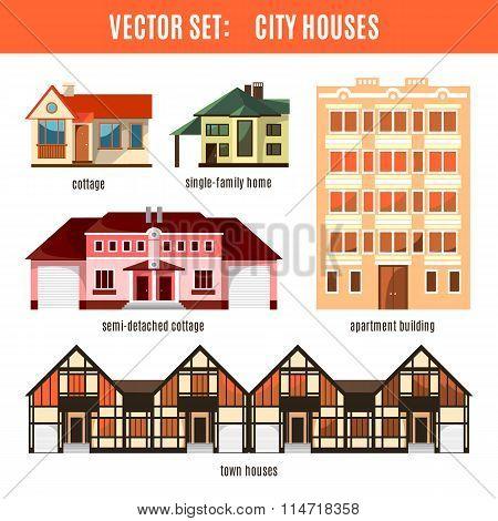 Modern flat vector buildings set