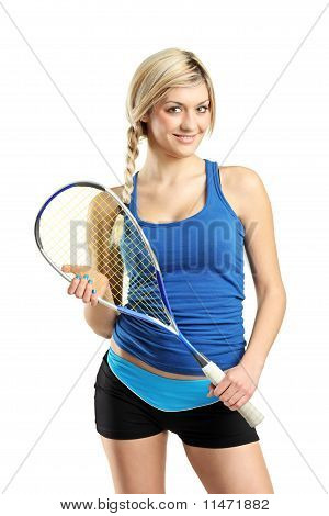 Smiling Female Squash Player Posing