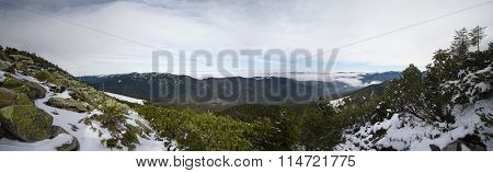 Panoramic View Of The Snow-capped Mountains And Gorgan. Carpathians