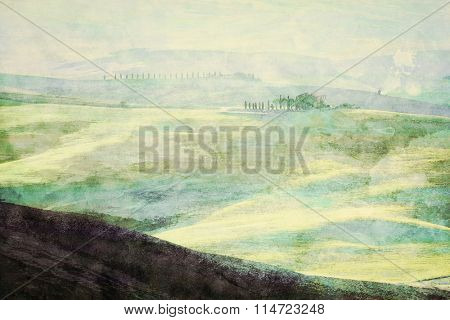 Painting of Tuscany landscape at sunrise. Typical for the region tuscan farm house, green hills, vineyard. Italy