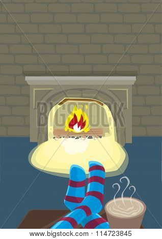 Staying Indoor with Fireplace during Winter Season. Editable Clip Art.