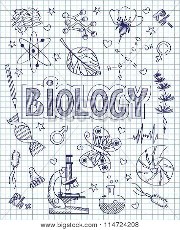 Hand drawn biology set