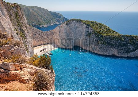View Of Crowded Navagio Beach On Zakynthos