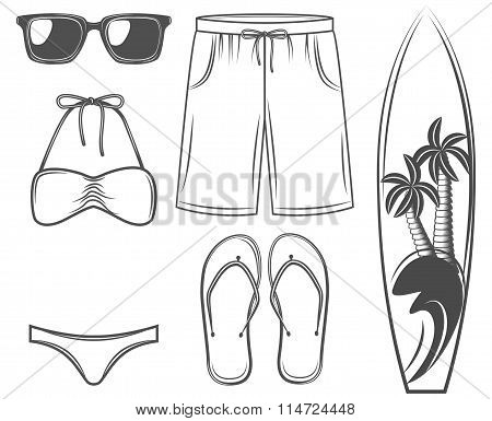 The Summer Set: Sunglasses, Swimsuit, Shorts, Surfboard, Palm Tree. The Beach And Vacation