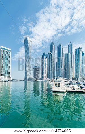Dubai - AUGUST 9, 2014: Dubai Marina district on August 9 in UAE