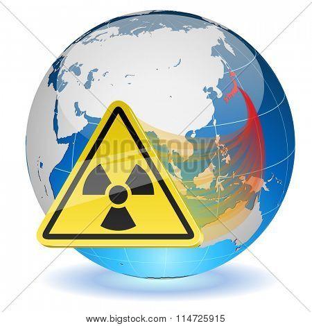 Earth globe with radiation hazard sign.