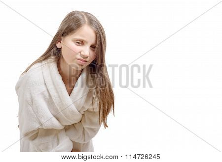Girl Has A Stomachache With Bathrobe, Isolated On White Background