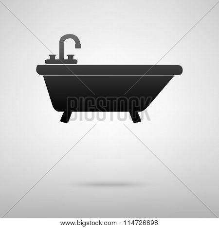 Bathtub black icon