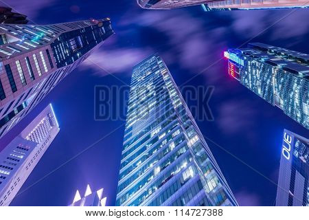 Singapore - AUGUST 4, 2014: Office buildings on August 4 in Singapore, Singapore. Singapore is home to many international businesses