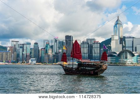 Hong Kong - JULY 27, 2014: Hong Kong Victoria Harbour on July 27 in China, Hong Kong. Aqua Luna is popular tourist attraction in HongHong Kong - JULY 27, 2014: Hong Kong Victoria Harbour on July 27 in