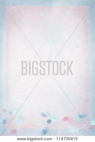 pastel daisy border on pink background