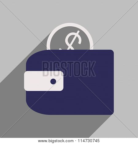 Flat style icon with long shadow purse money