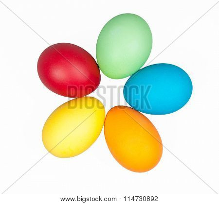 multi color eggs isolated on white