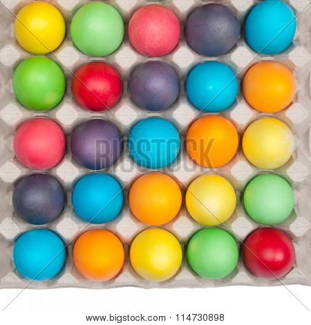 multi color eggs in box