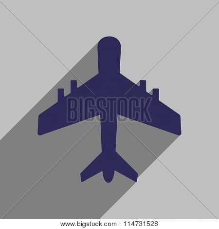 Flat style icon with long shadow aircraft