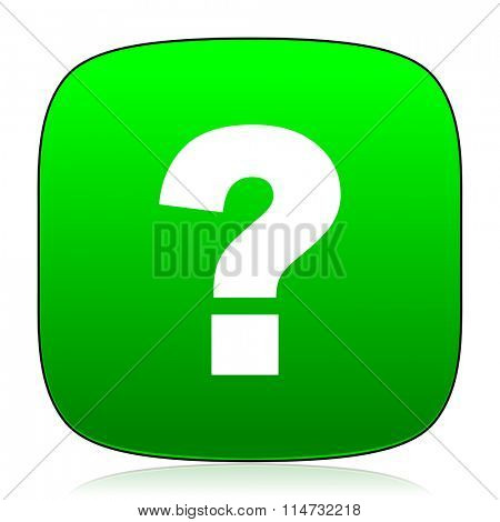 question mark green icon for web and mobile app