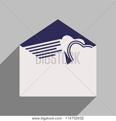 Flat style icon with long shadow wedding invitation