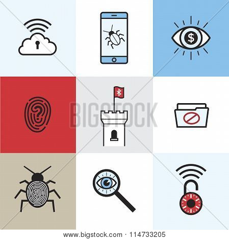 Cyber Security Icons with Wifi  Virus