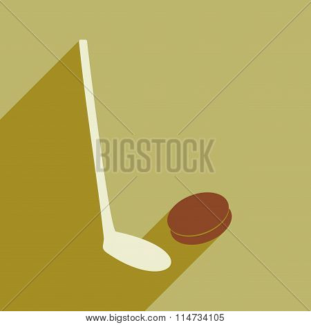 Flat icon with long shadow stick and puck