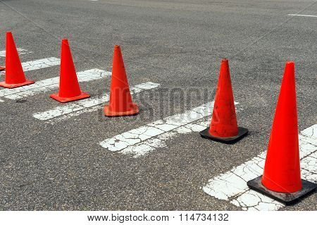 traffic cones on the street