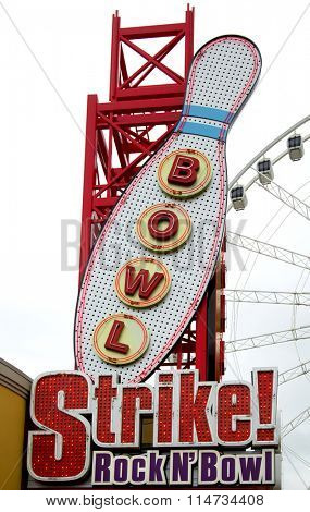 NIAGARA FALLS, CANADA-JANUARY 11, 2016:  Bowling neon sign on the main street at Niagara Falls in Ontario, Canada