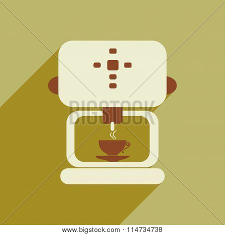 Flat icon with long shadow coffee maker