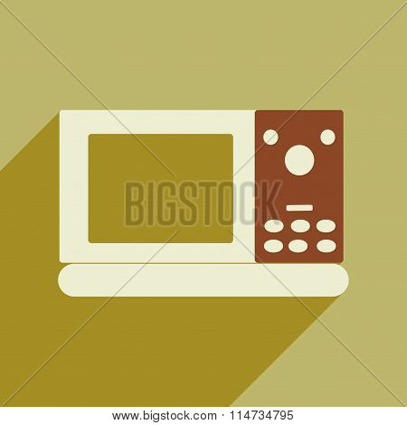 Flat icon with long shadow microwave oven