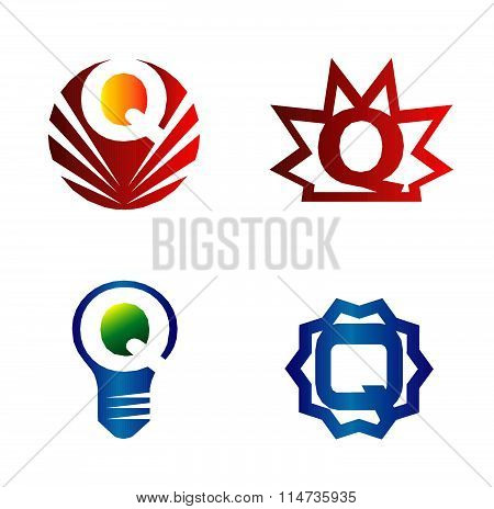 Set of alphabet symbols and elements of letter Q, such a logo