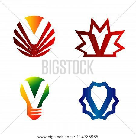 Set of alphabet symbols and elements of letter V, such a logo