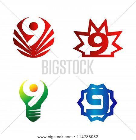 Number nine logo.Logo 9 set