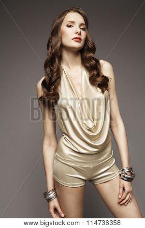 Brunette model posing in studio