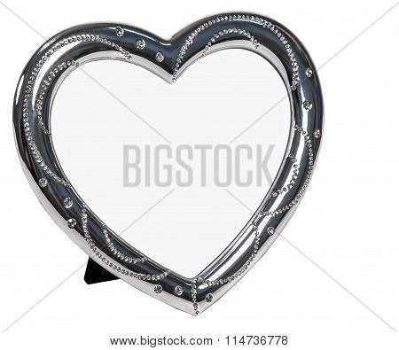 White metal photo frame with cristall in form of heart