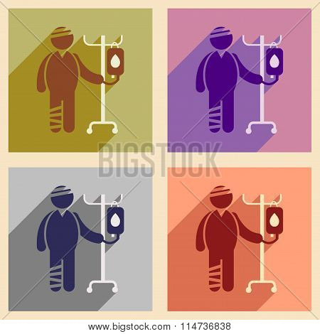 Modern flat icons collection with long shadow injured patient
