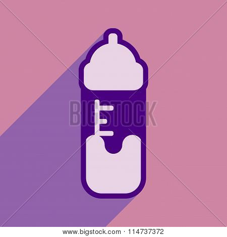 Modern flat icon with long shadow baby bottle