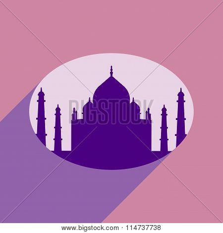 Modern flat icon with long shadow Indian Taj Mahal
