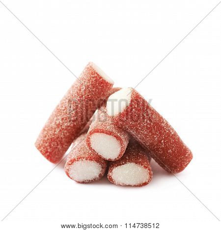 Red and white licorice candy