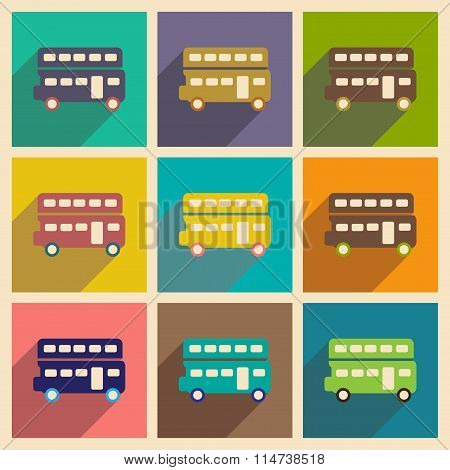 Set of flat icons with long shadow double decker bus